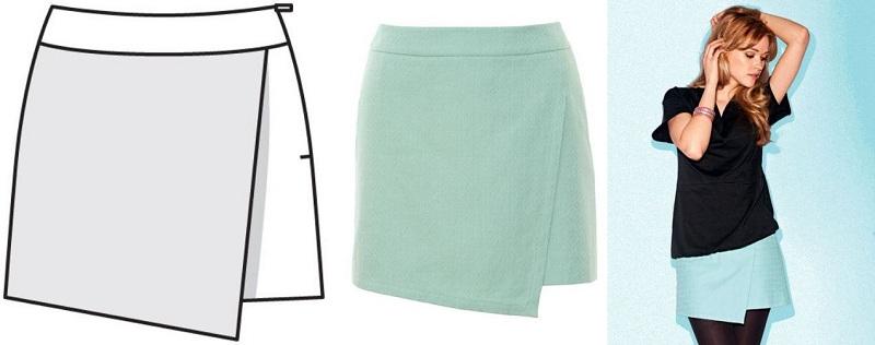 Sewing Pattern Of Asymmetric Wrap Skirt