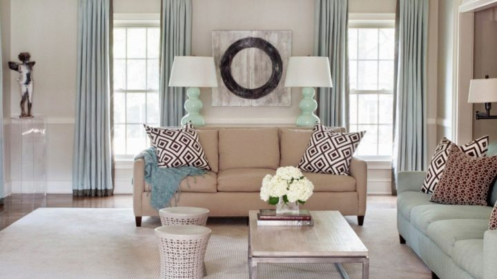 Interior Design Living Room With Two Windows